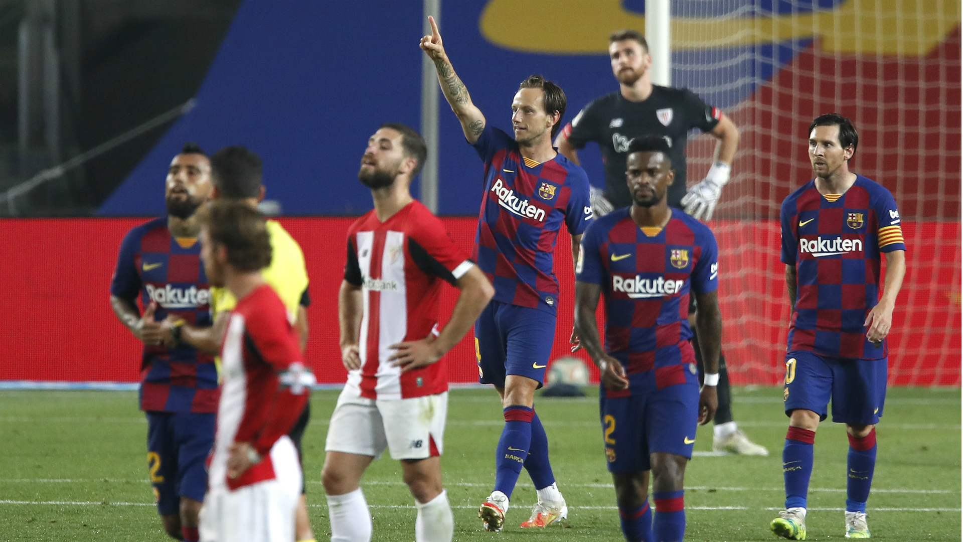 Barcelona 1-0 Athletic Bilbao: Rakitic to the rescue as Messi is kept waiting