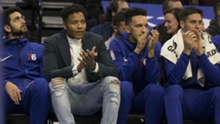 Markelle Fultz in street clothes on the 76ers bench