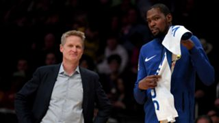 Steve Kerr, left, and Kevin Durant