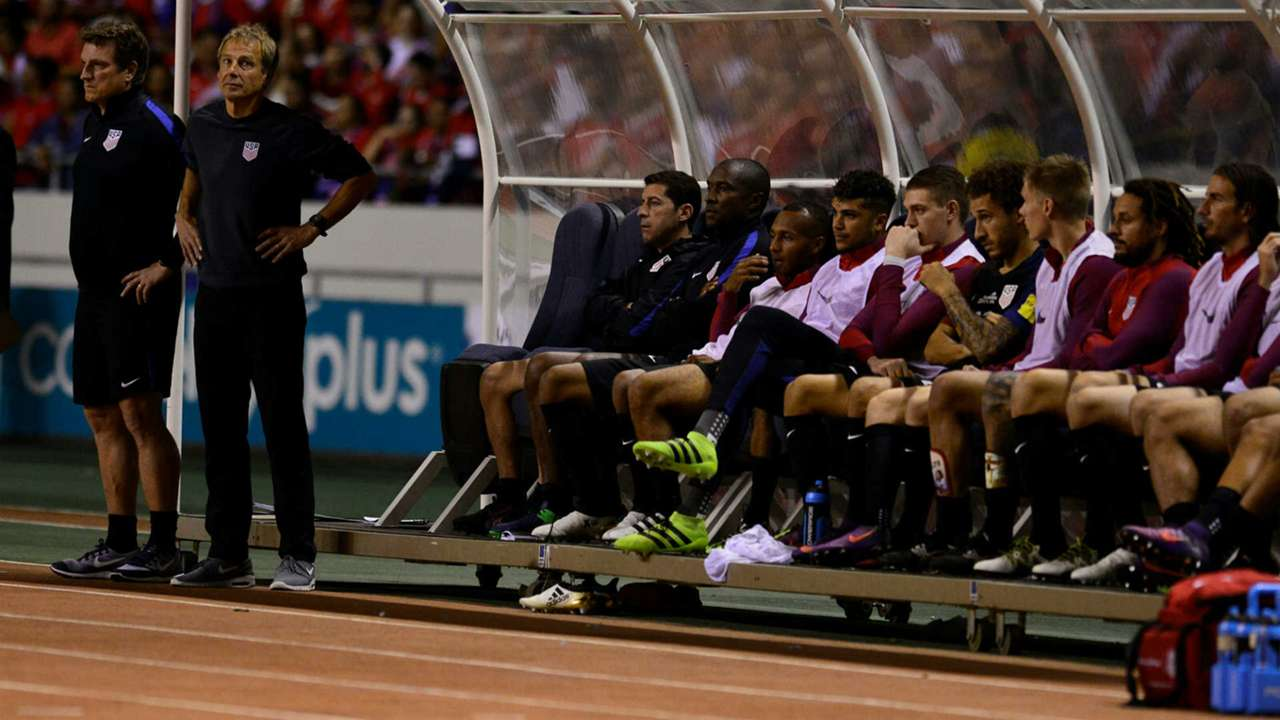 The USMNT bench in Costa Rica