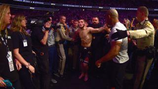 Khabib Nurmagomedov is held back after his win over Conor McGregor at UFC 229