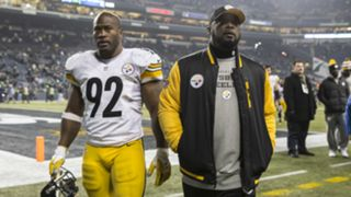 James Harrison, left, and Mike Tomlin
