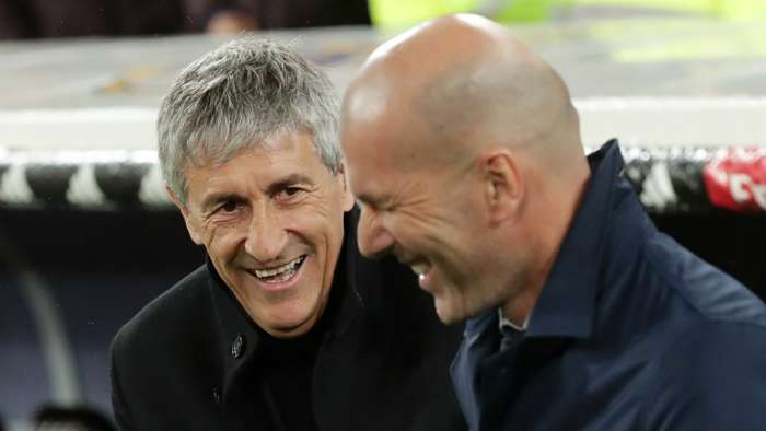 Quique Setien and Zinedine Zidane - cropped