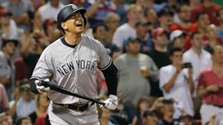 Alex Rodriguez pops out Wednesday.