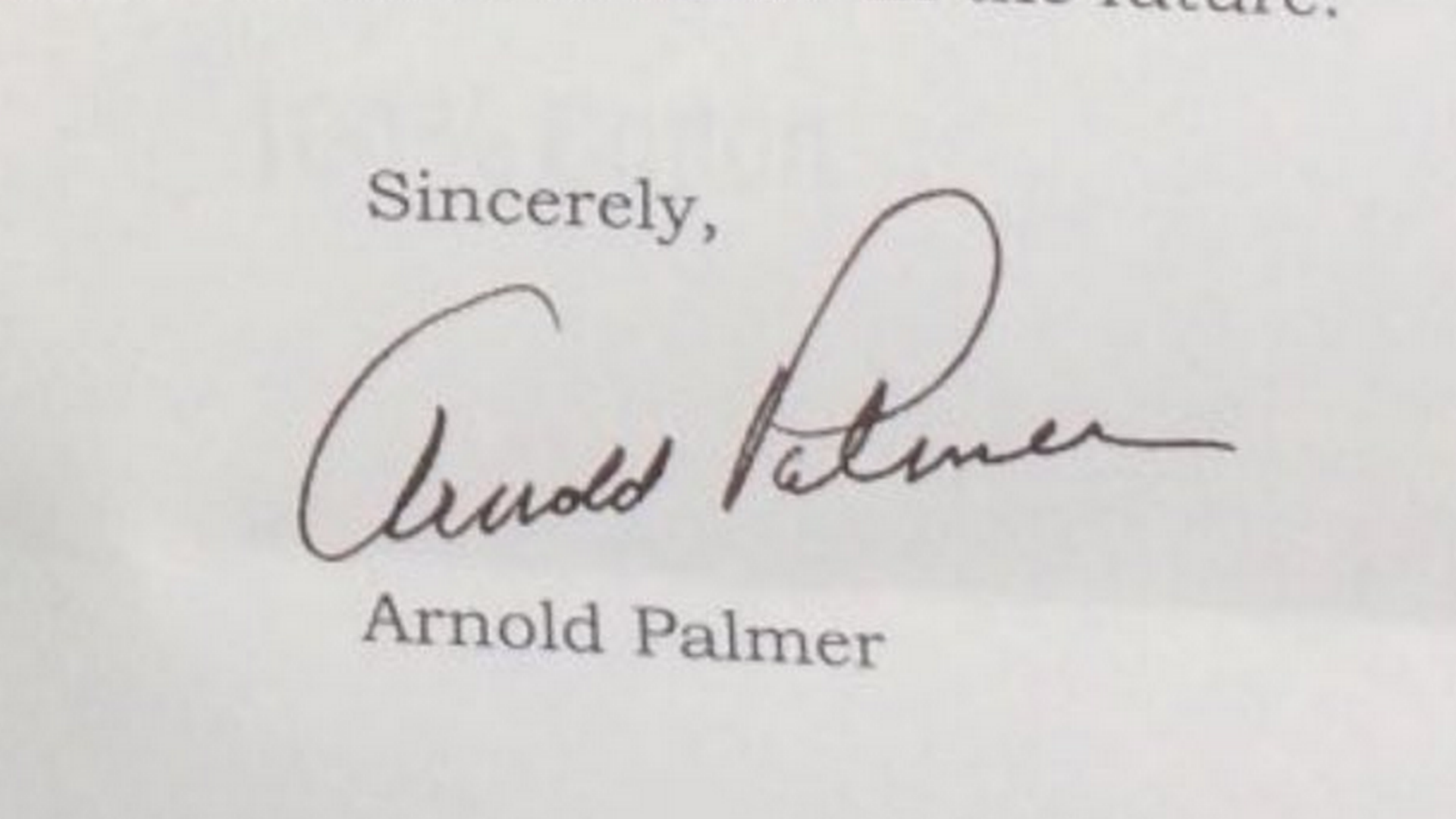 Arnold Palmer's letter to Michigan golfer arrives late
