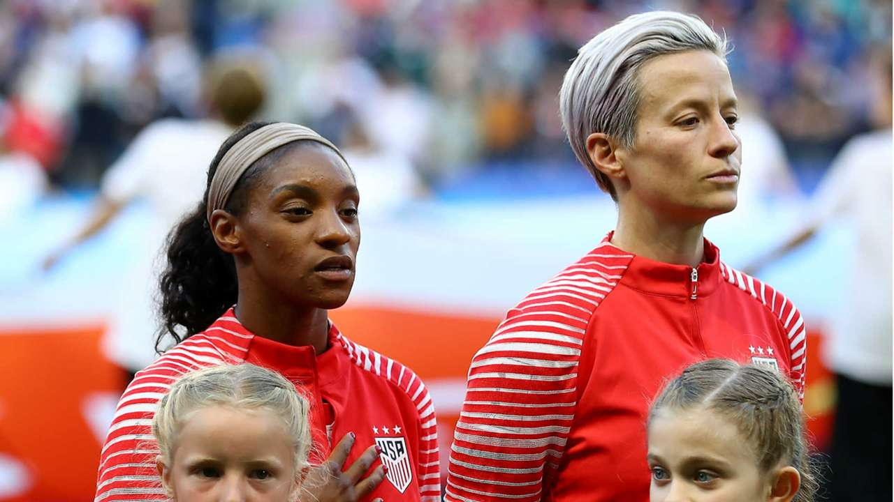 Megan Rapinoe during the national anthem