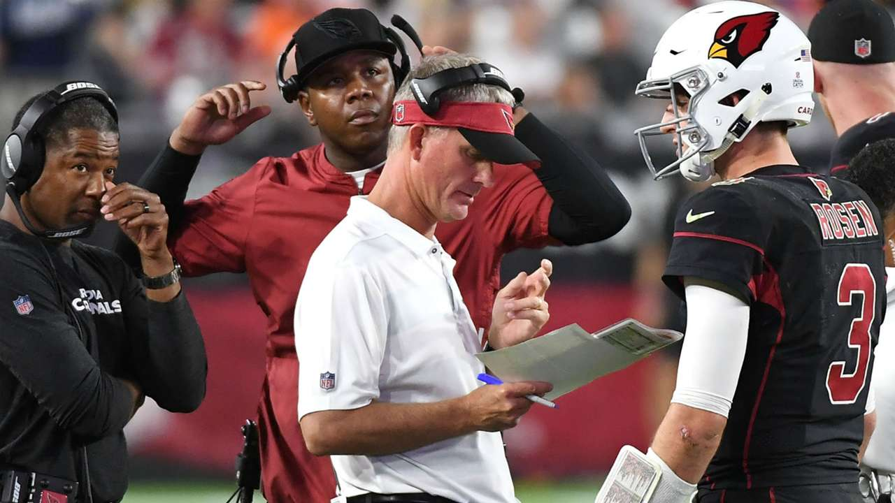 Mike McCoy, Byron Leftwich with Josh Rosen