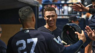 Giancarlo Stanton (27) and Aaron Judge