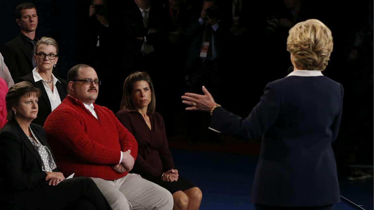 Ken Bone listens to Hillary Clinton