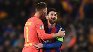 Marc-Andre ter Stegen and Lionel Messi
