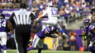 Josh Allen leaps over defender