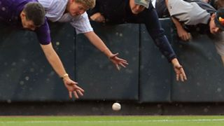 Fans reach for a foul ball