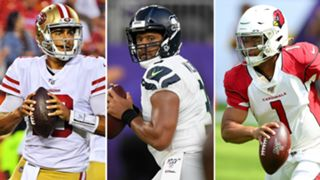 Jimmy Garoppolo (left), Russell Wilson (center), Kyler Murray (right)