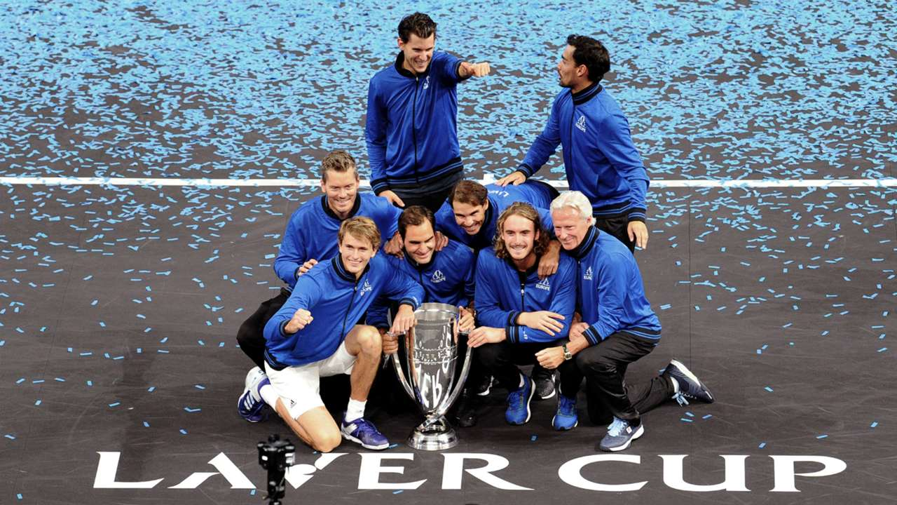 Team Europe celebrate Laver Cup win - cropped