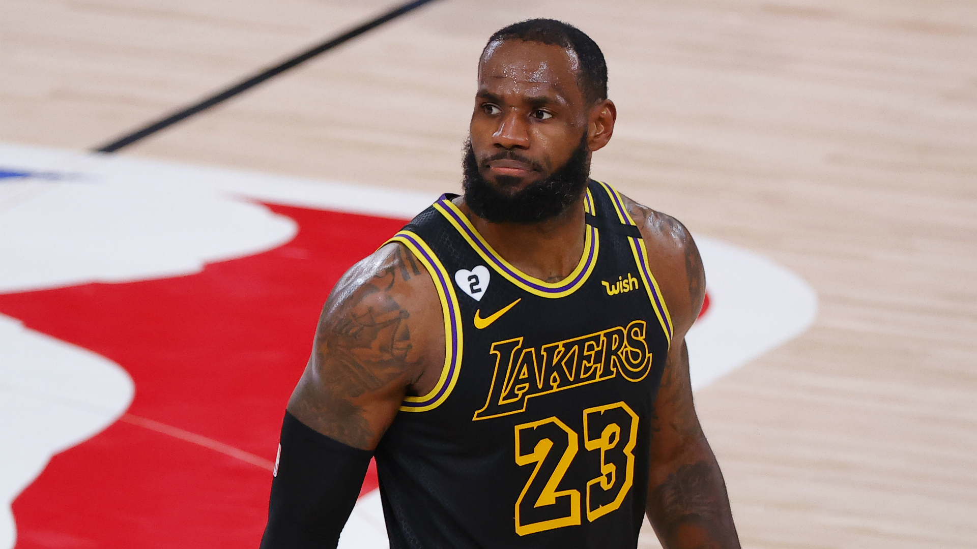 Lebron James On Lakers Score Reaching 24 8 On Mamba Day Ok He S Here In The Building Sporting News