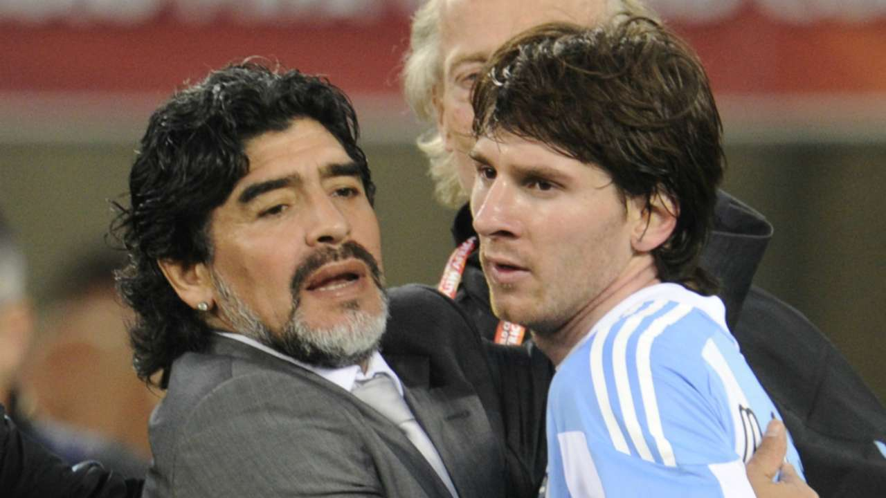 Diego Maradona and Lionel Messi - cropped