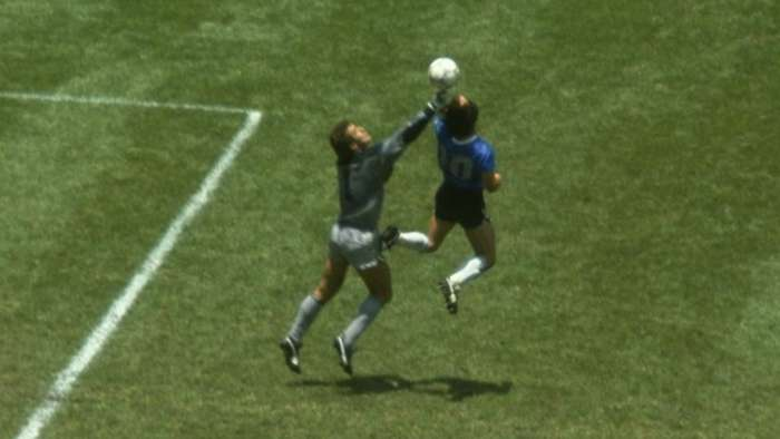 Diego Maradona and Peter Shilton - cropped