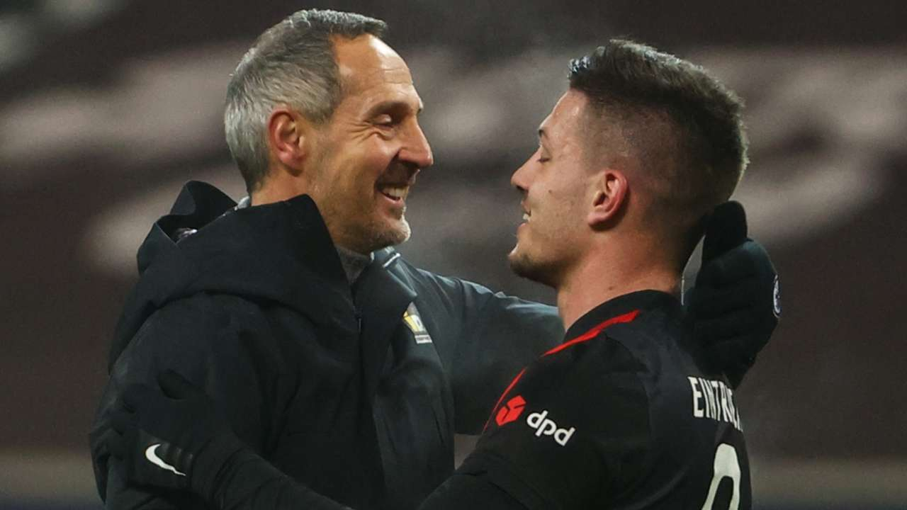 Adi Hutter congratulates two-goal Luka Jovic