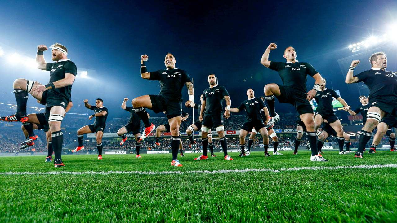 16:9. The All Blacks perform the haka
