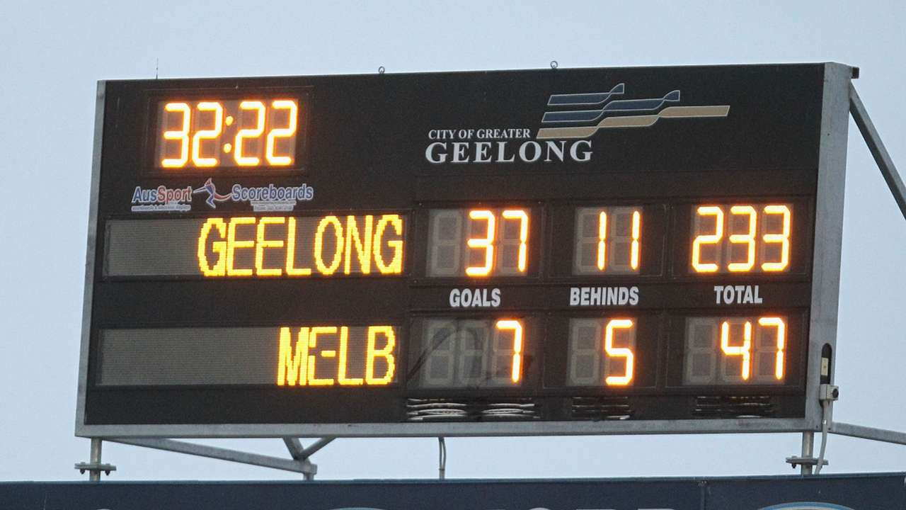 Melboune v Geelong scoreboard