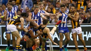 North Melbourne Hawthorn fight
