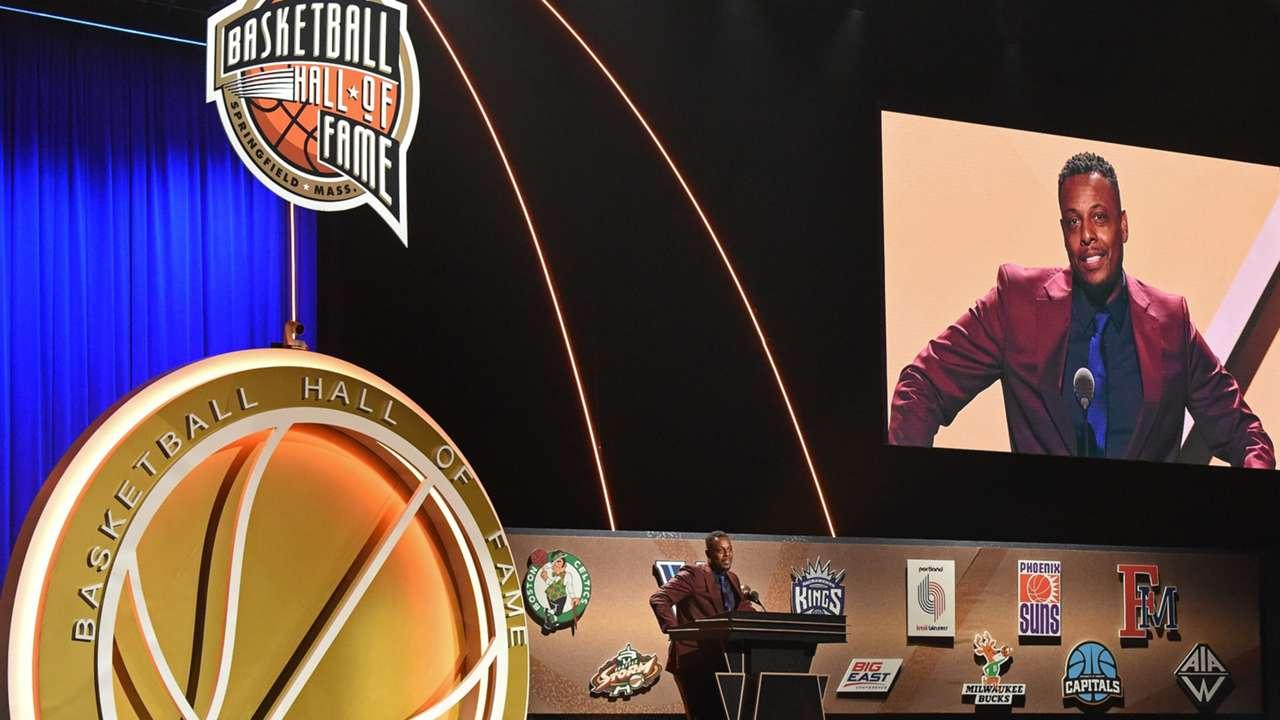 Paul Pierce during his Hall of Fame enshrinement presentation.