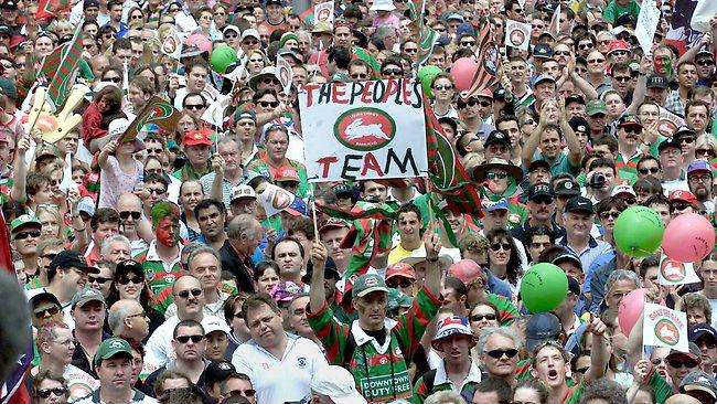 Rabbitohs fans march in 2000 to protest against the club's exclusion from the NRL