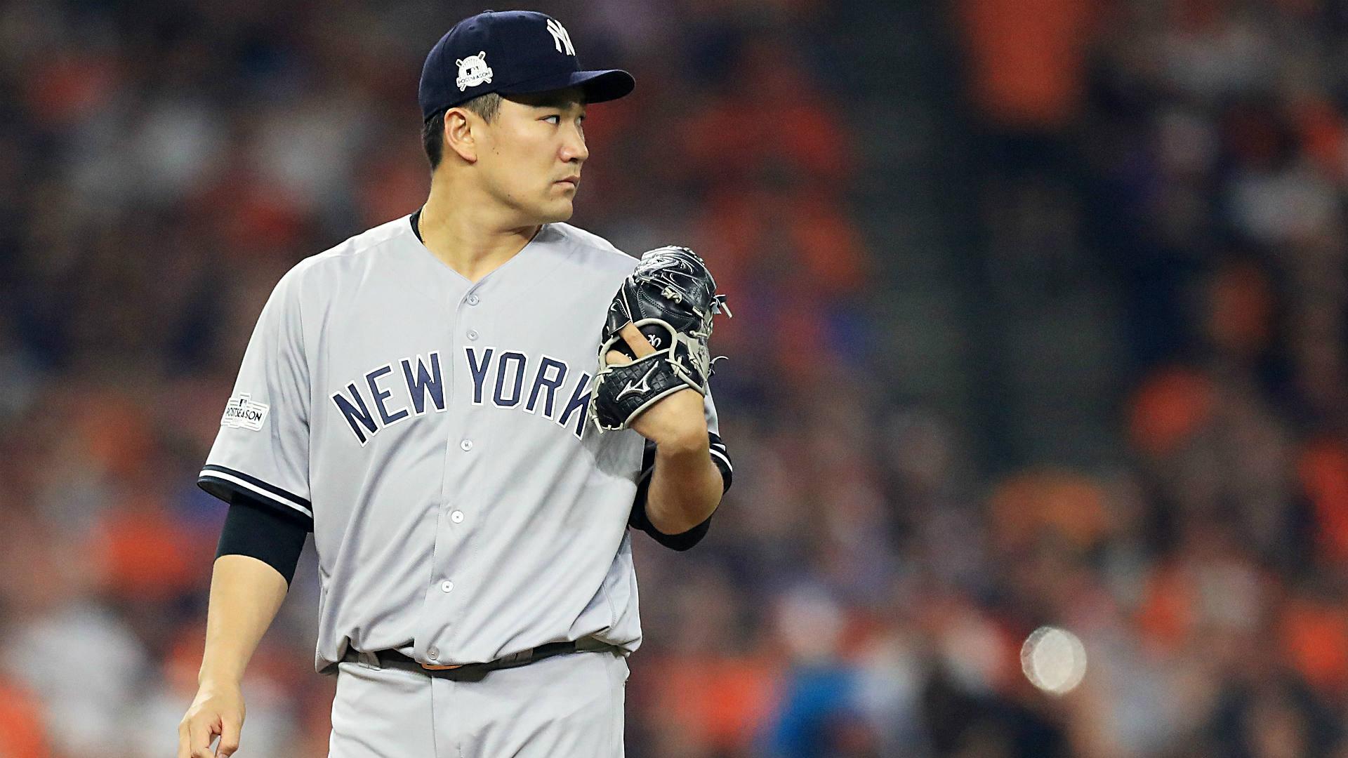 Masahiro Tanaka hit in head by Giancarlo Stanton line drive during Yankees camp 1