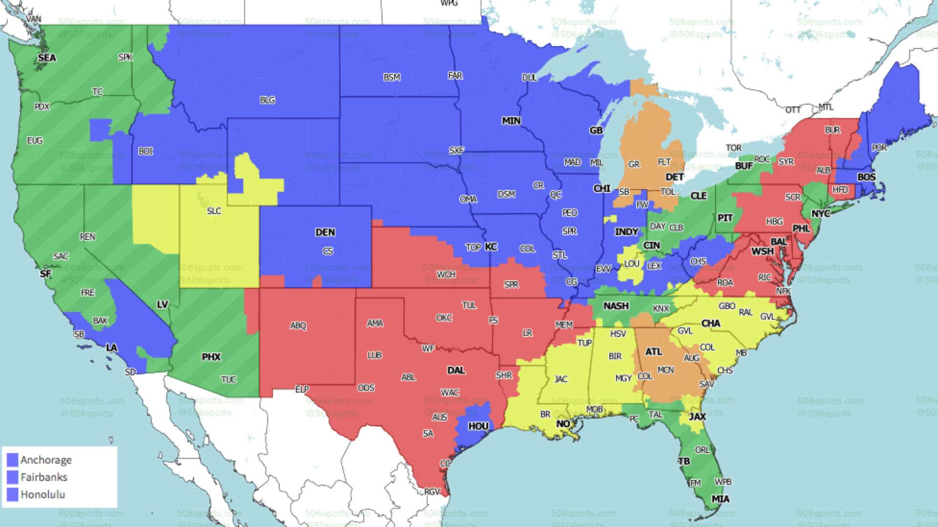 Nfl Week 7 Coverage Map Tv Schedule For Cbs Fox Regional Broadcasts Sporting News