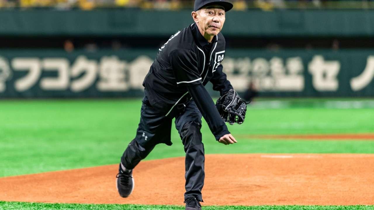 投球する木梨憲武さん