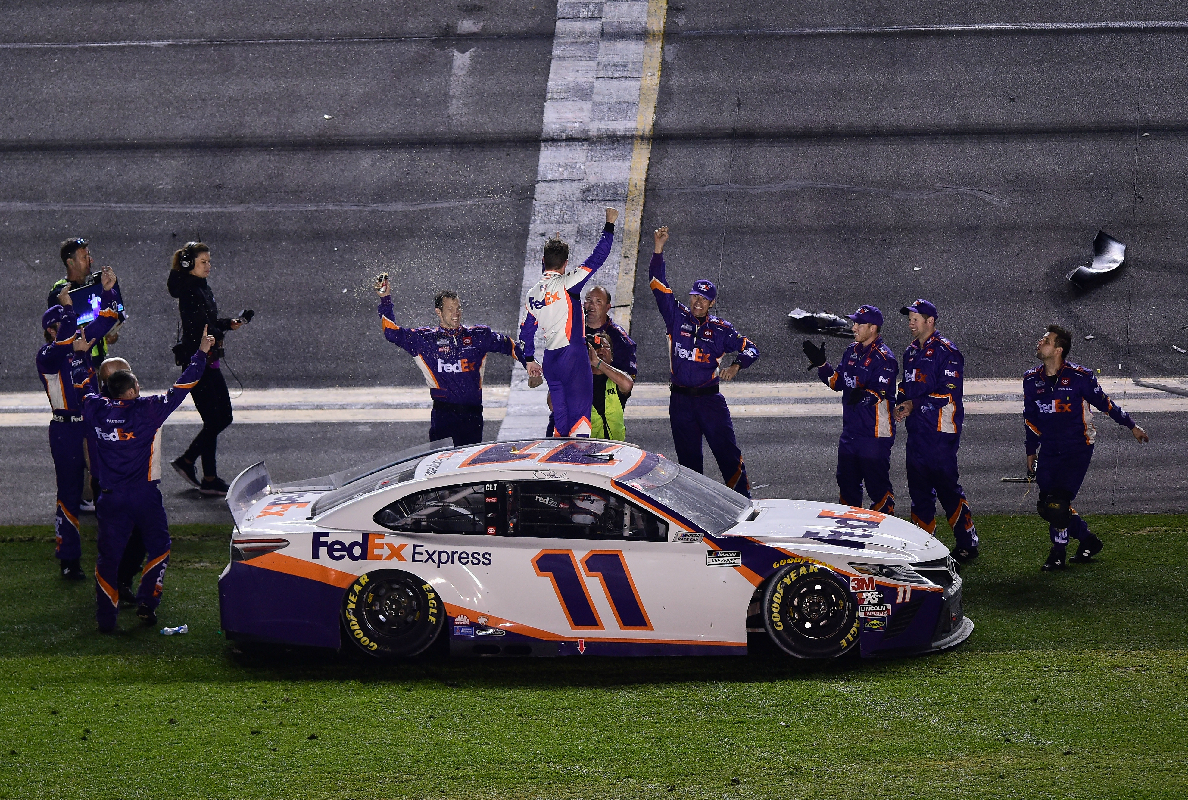 Daytona 500 results: Denny Hamlin wins for second-straight year after scary Ryan Newman crash on final lap
