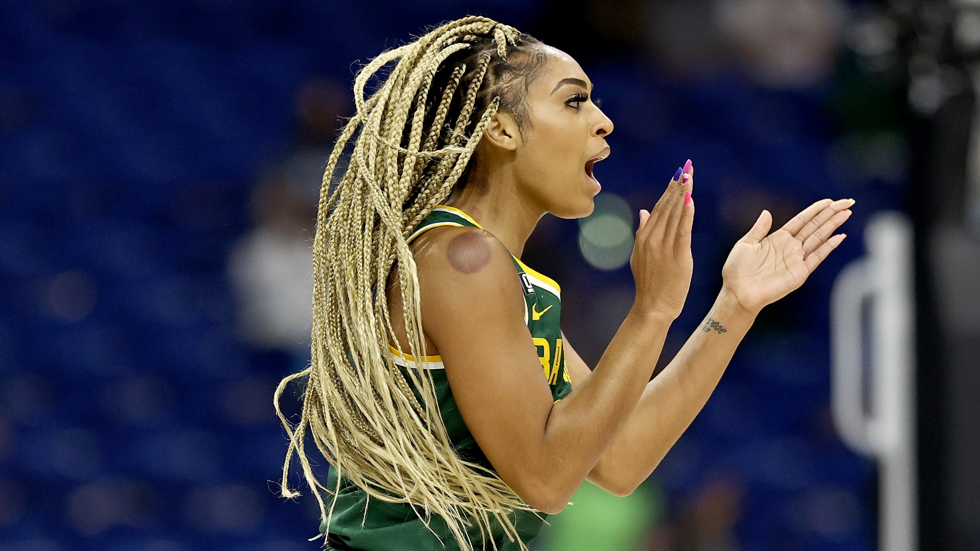 """Baylor's DiJonai Carrington said the judges were guilty of a foul against UConn: """"I don't see it as a controversial call-up."""""""