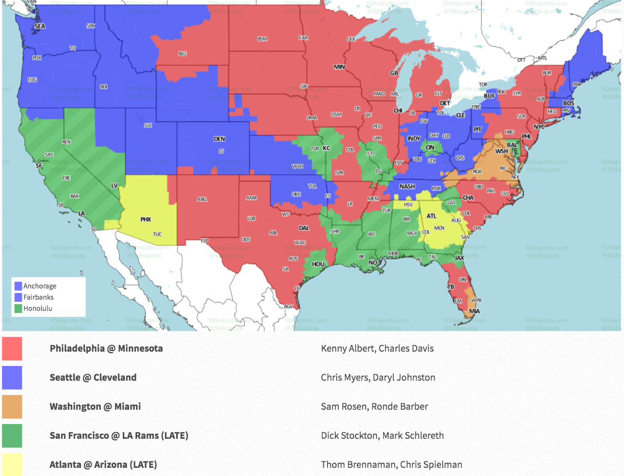 Nfl Week 6 Coverage Map Tv Schedule For Cbs Fox Regional Broadcasts Sporting News