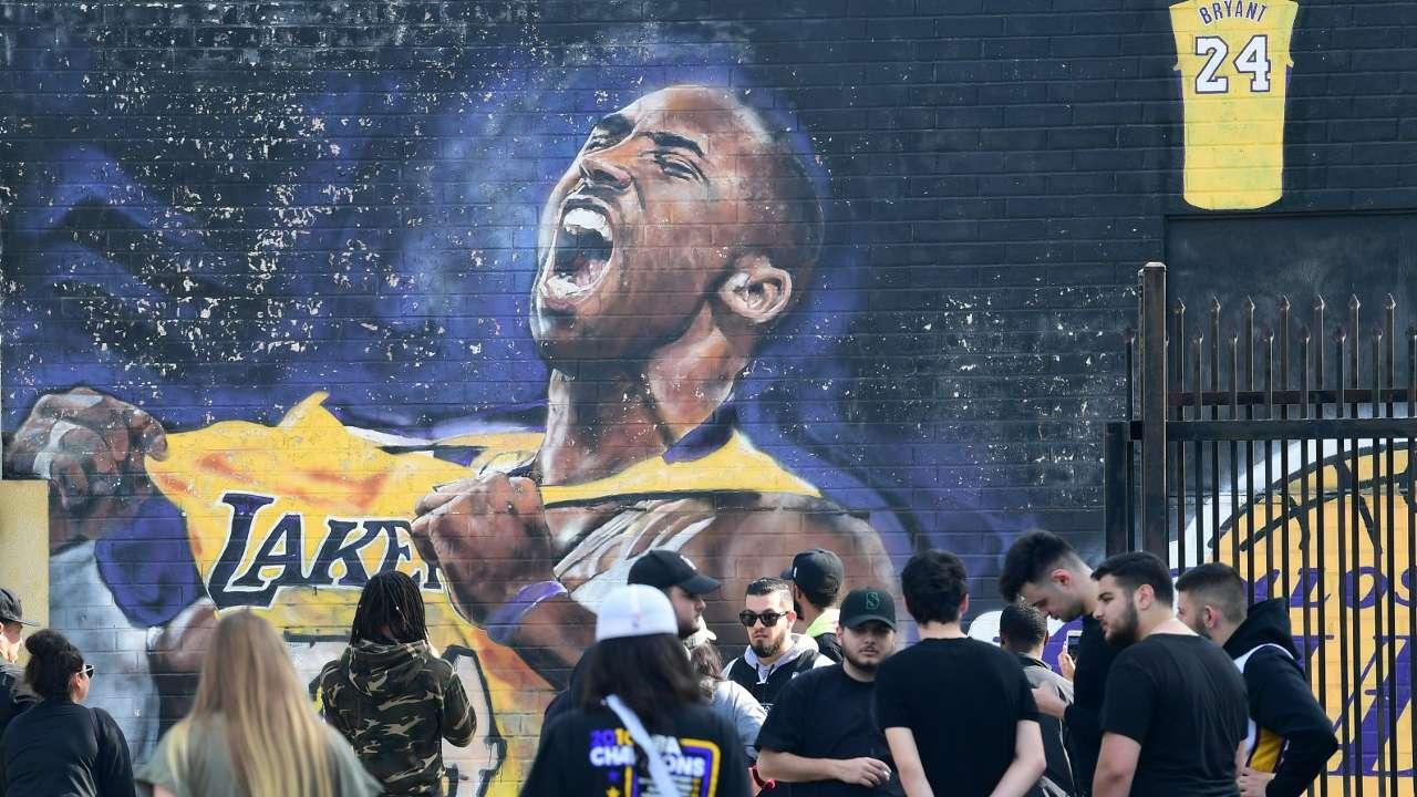 Kobe Bryant mural outside STAPLES Center