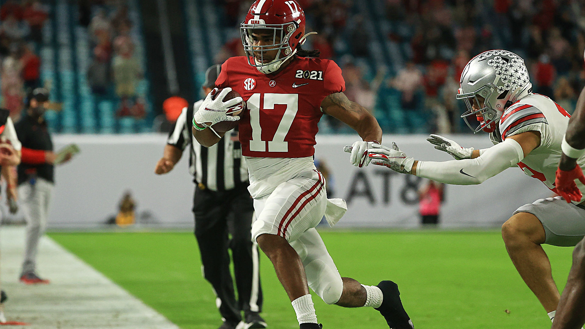 Alabama's Jaylen Waddle returns from injury for title game; NFL stars want  him to shut it down | Sporting News