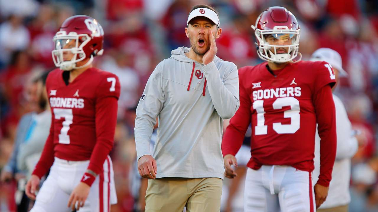 Spencer Rattler, Lincoln Riley and Caleb Williams