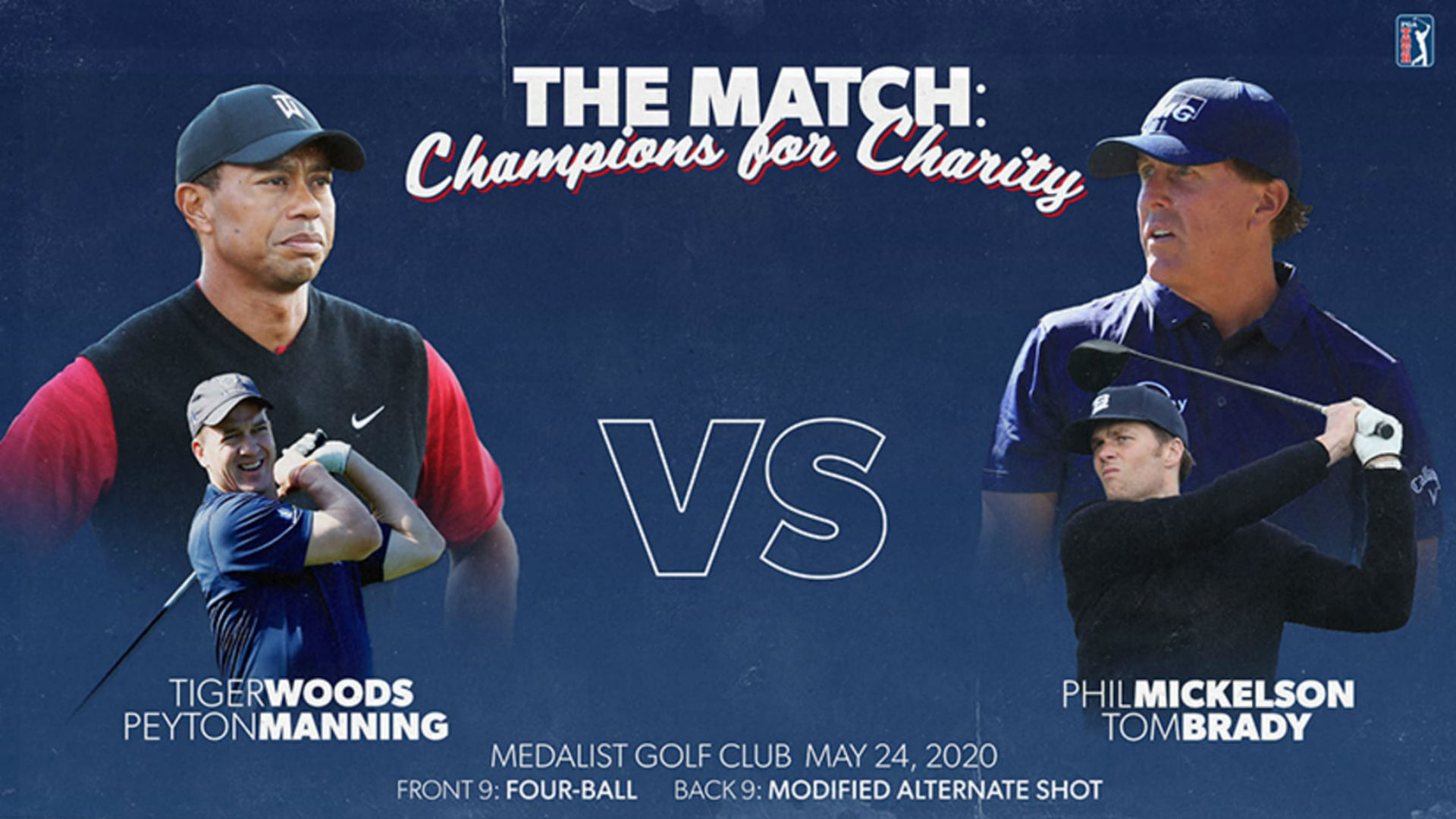 A complete guide to the Tiger Woods-Peyton Manning vs. Tom Brady-Phil Mickelson charity golf match 1