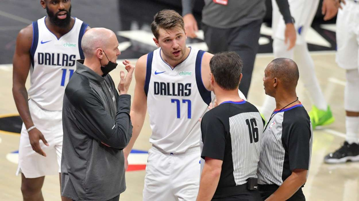 Head coach Rick Carlisle Luka Doncic Dallas Mavericks