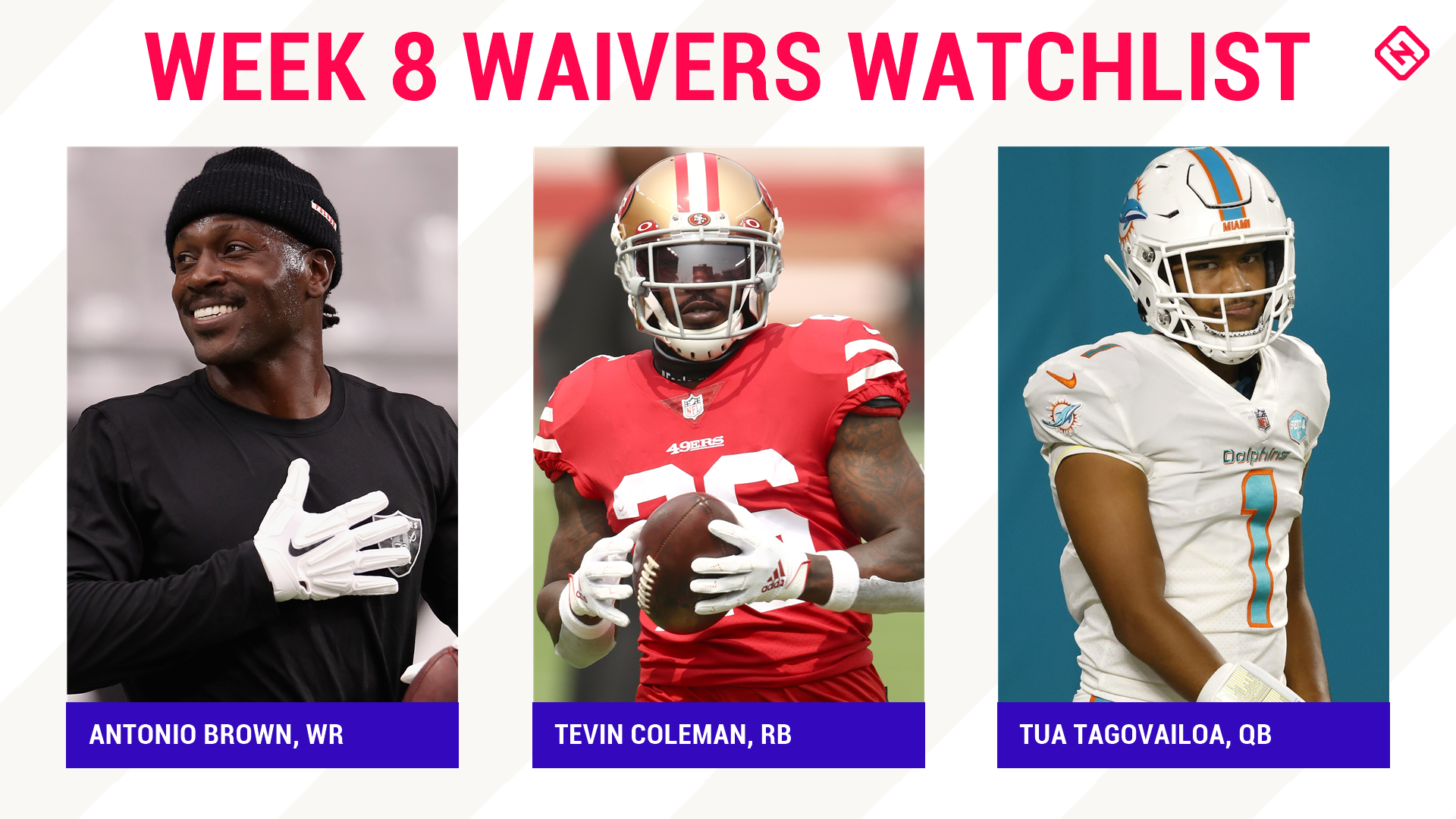 Fantasy Football Waiver Wire Watchlist for Week 8: Streaming targets, free agent sleepers include Antonio Brown, Tevin Coleman, Tua Tagovailoa