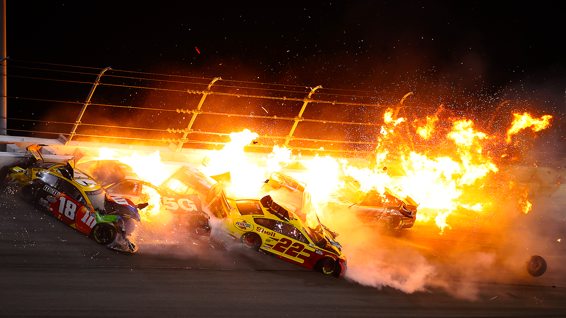 Watch the fiery Daytona 500 crash that caused a wild finish and Michael McDowell's win