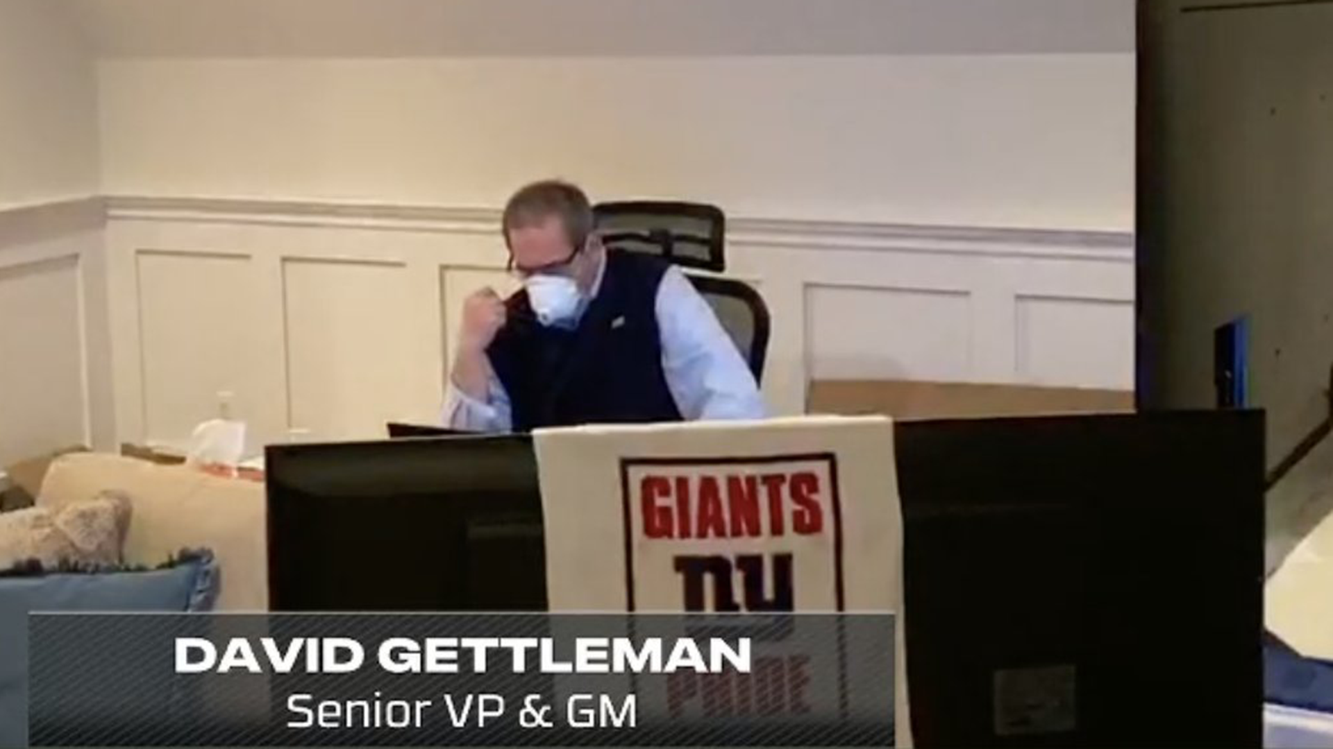 There's a good reason Dave Gettleman wore a mask in his empty NFL Draft room 1