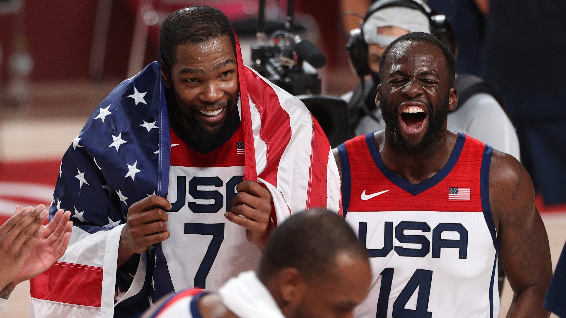 Kevin Durant and Draymond Green criticize critics of Team USA, including Kendrick Perkins, after winning the gold medal.
