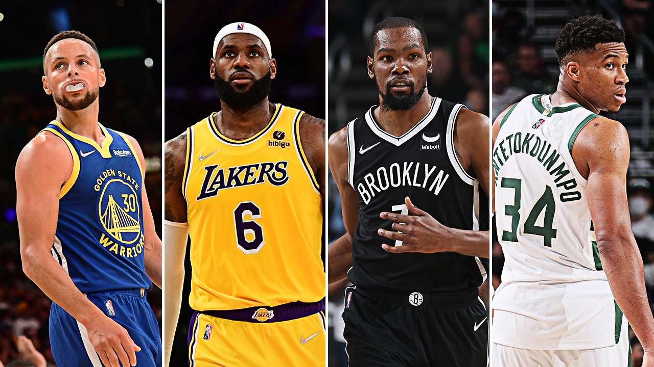 Stephen Curry, Kevin Durant, LeBron James, Giannis Antetokounmpo