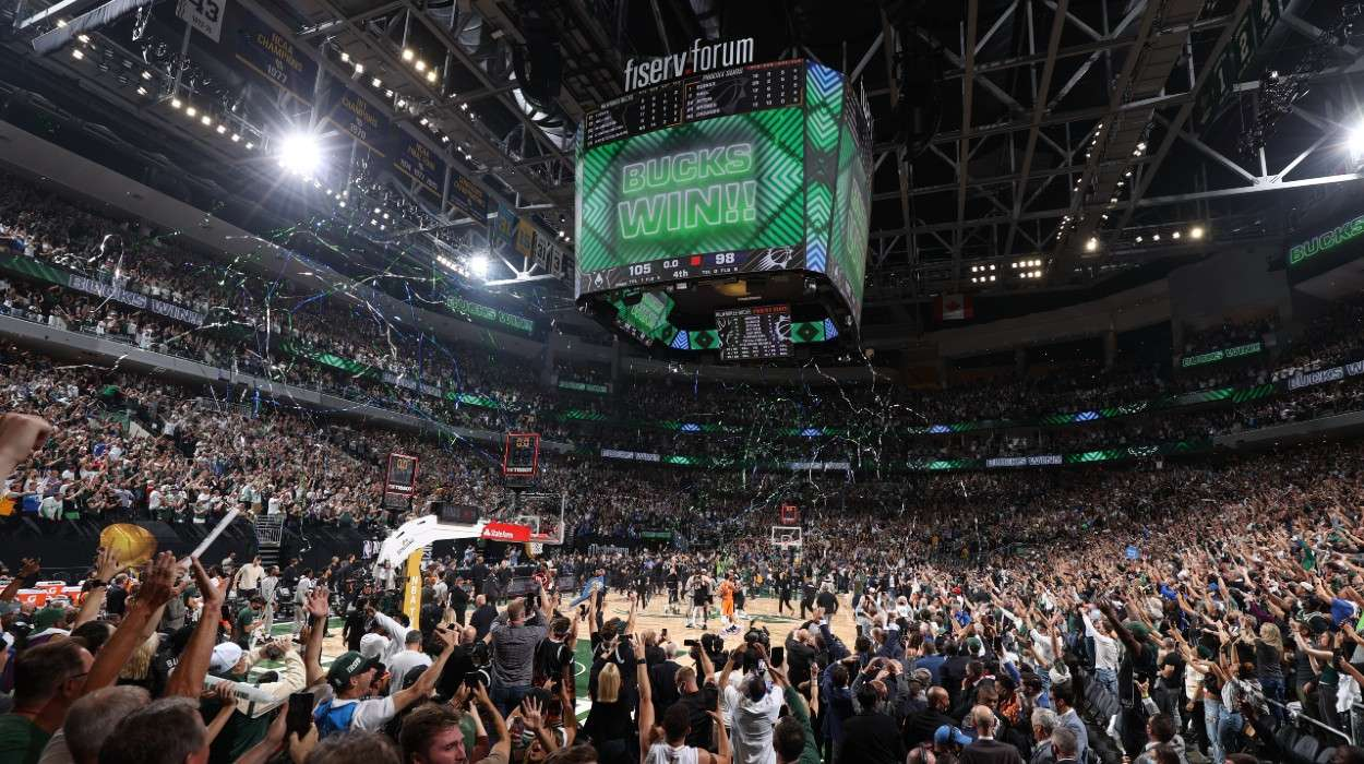 An overall view of the arena after the Milwaukee Bucks win the 2021 NBA Finals