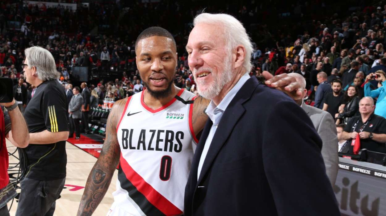 Head Coach Gregg Popovich San Antonio Spurs Damian Lillard Portland Trail Blazers