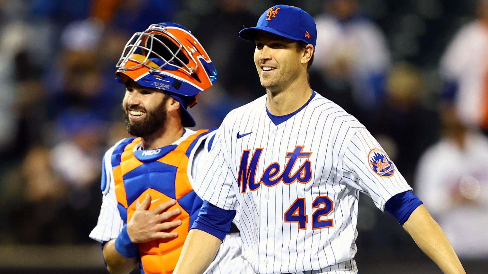 Umps check under Jacob deGrom's belt for sticky substance under new MLB rule