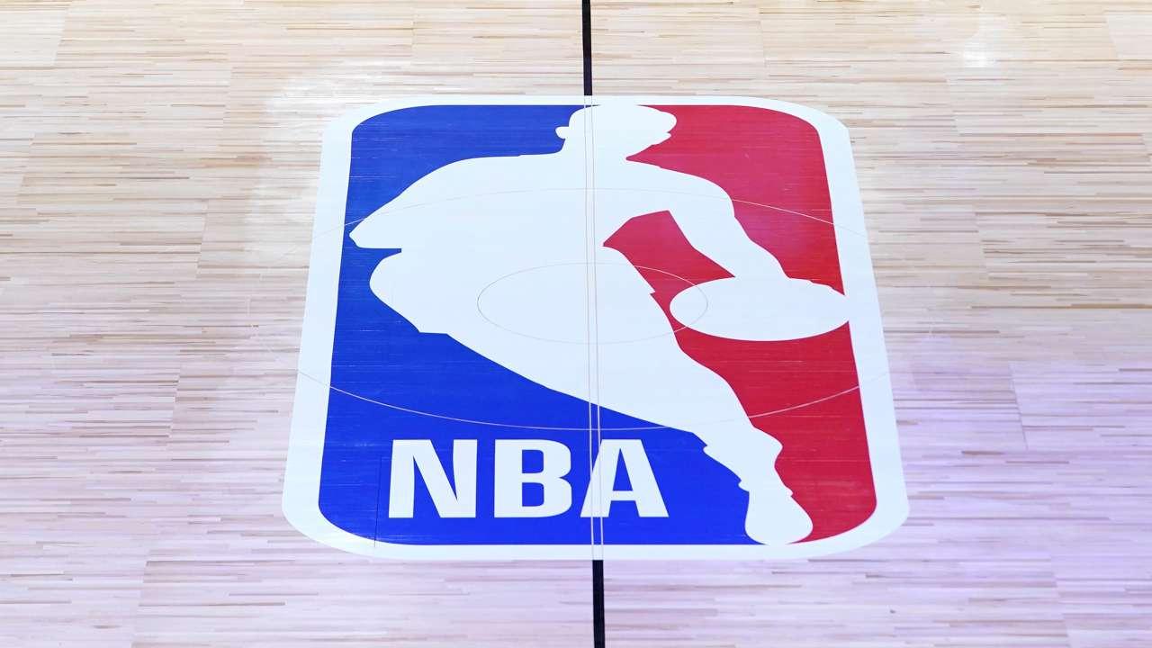 NBA logo floor