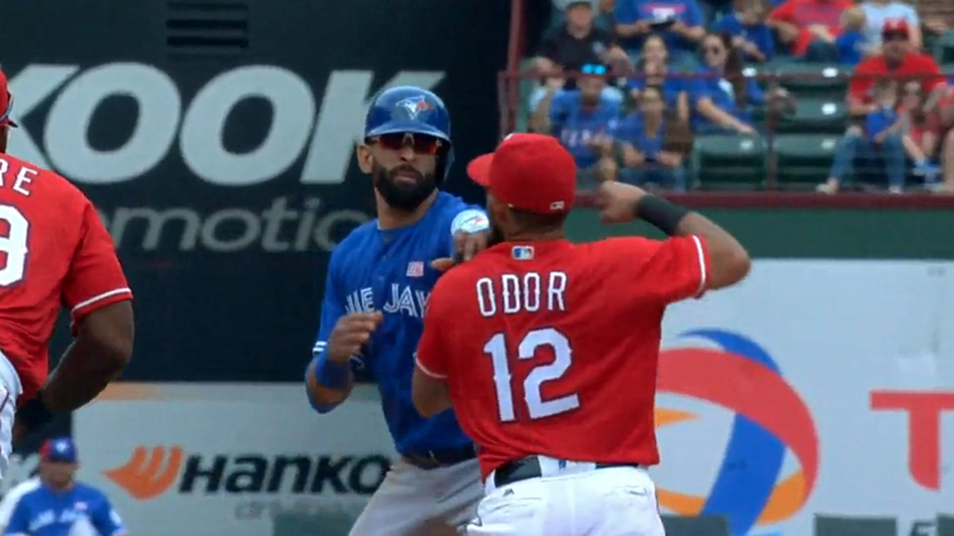 Rangers farewell graphic to Rougned Odor features infamous Jose Bautista punch