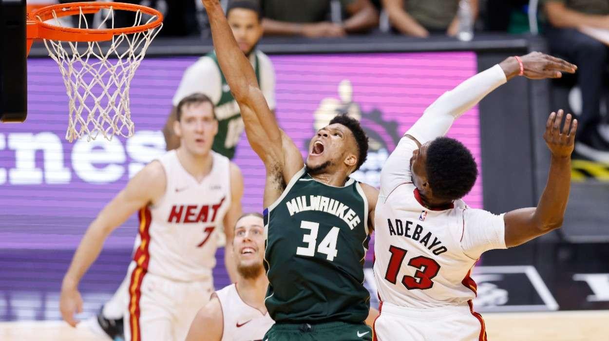 Giannis Antetokounmpo Milwaukee Bucks Bam Adebayo Miami Heat