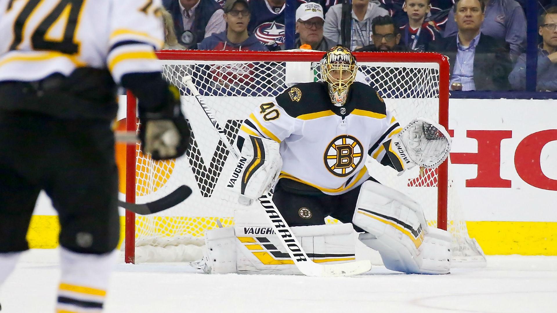 Bruins goaltender Tuukka Rask makes head save against Lightning 1